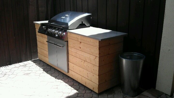 Diy Bbq Island Wood And Concrete Countertop Diy Grill Island