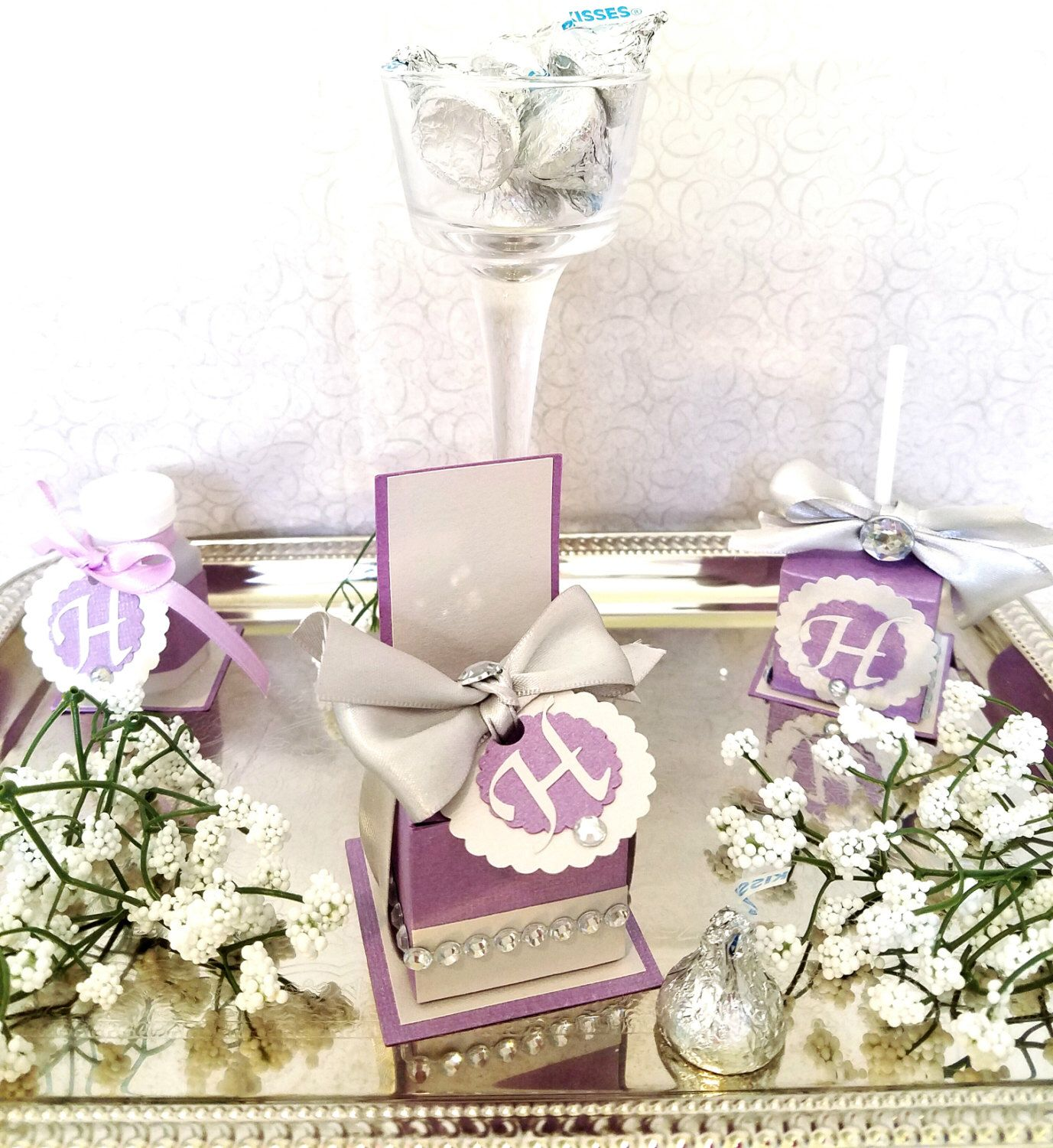 Personalized Purple and Silver Chair Favor Box, Wedding Favor Box ...