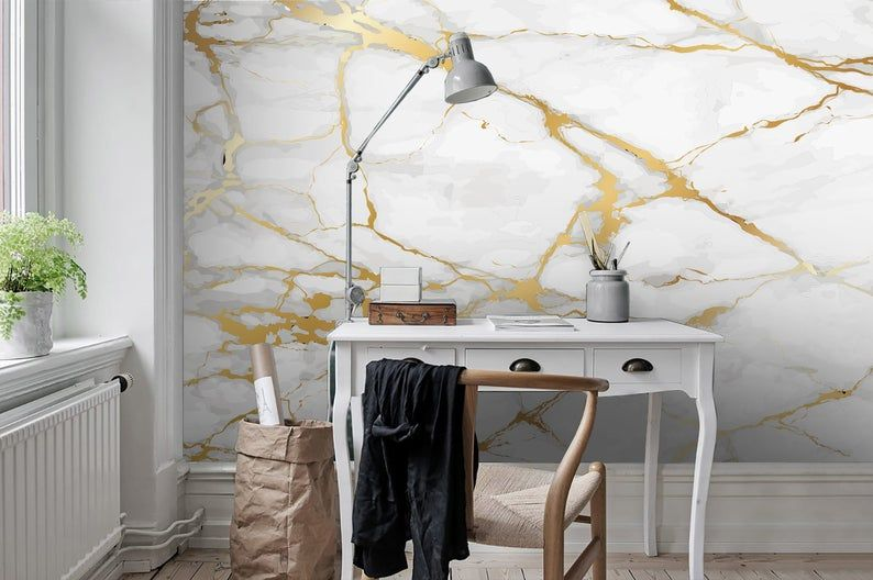3d Gold White Marble Wallpaper Removable Self Adhesive Wallpaper Wall Mural Vintage Art Peel And Stick Mural Wallpaper Wall Murals Mural