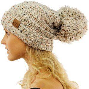 SK Hat shop CC Confetti Super Big Slouchy Pom Pom Warm Chunky Stretchy Knit  Beanie Hat f993291b98ac