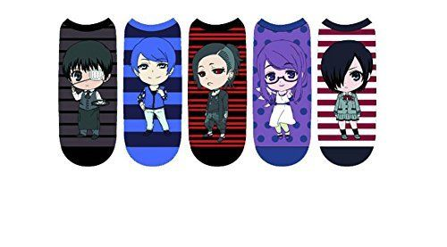 Tokyo Ghoul Chibi Characters Women's (5) Pair Low Cut Ankle Socks Size 4-10