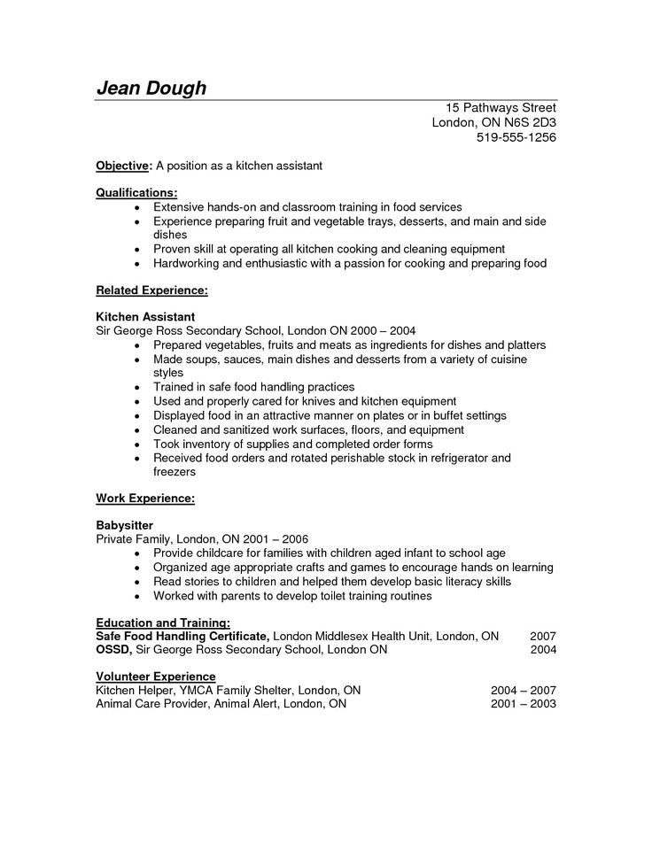 Resume Templates For Kitchen Helper Helper Kitchen Resume