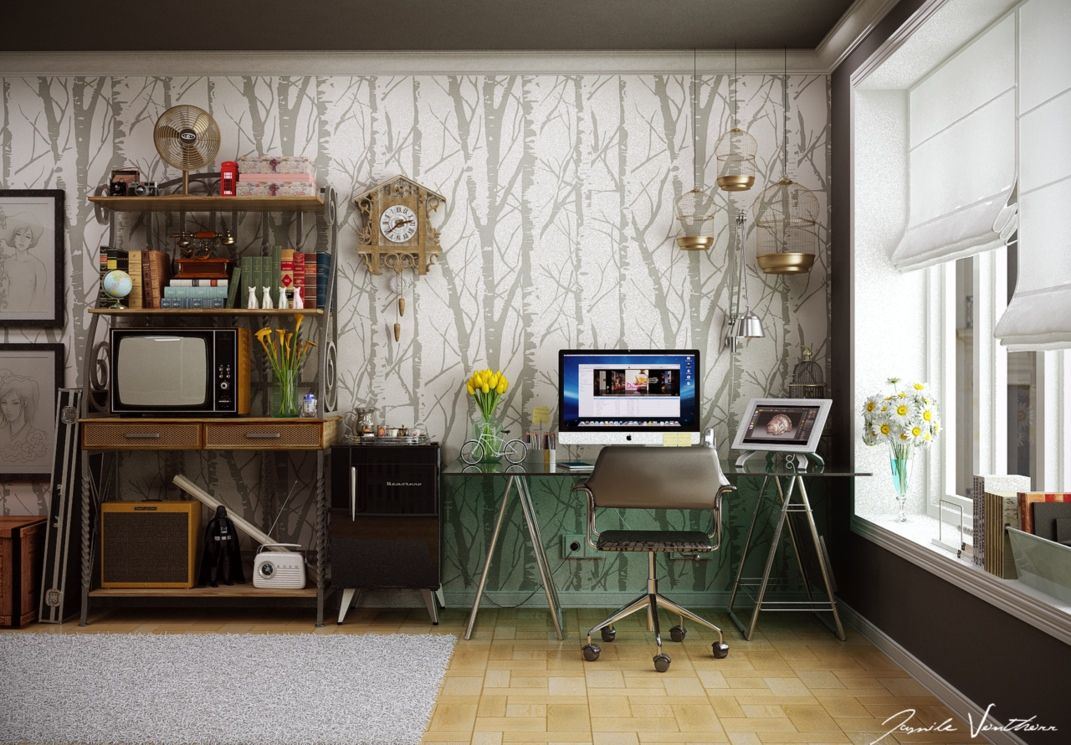 Elegant Home Design, Creative Ideas For Workspace Inspiration Office Home Interior  Design: Creative Workspace With Photo Gallery