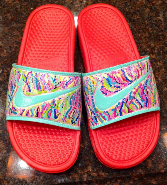 Nike slides hand painted in