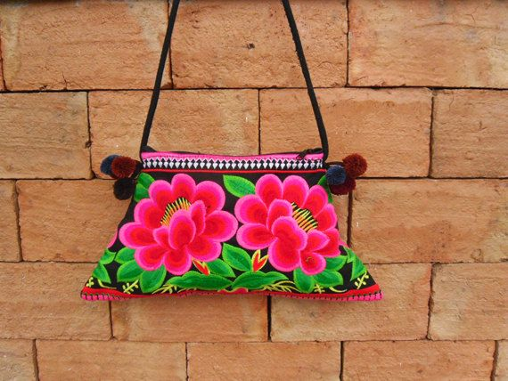 Peonies cross body bag Embroidered purse Hill Tribe by midgetgems, $9.99