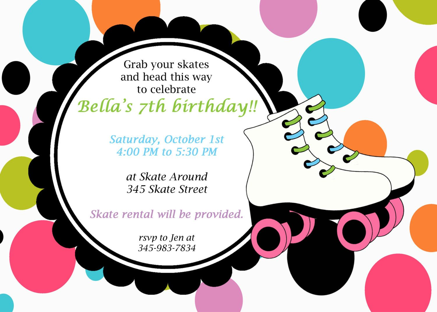 Awesome Printable Roller Skating Party Invitation Dotted skate – Card Party Invitation