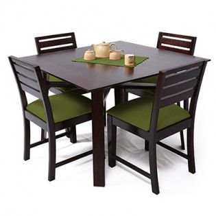 Carlos 4 Seater Dining Table Set Green Mahogany Finish  Dining Custom Dining Room Sets Online Decorating Design