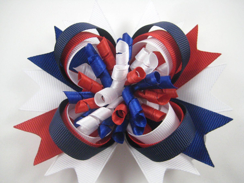 Red White and Blue Hair Bow  Patriotic Hair Clip  Militiary Hair