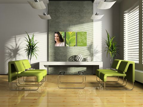 Love the open reception space and bright green accent color ...