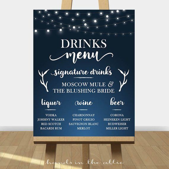 Custom drinks menu sign for wedding reception printable bar menu signature drinks cocktails signage…