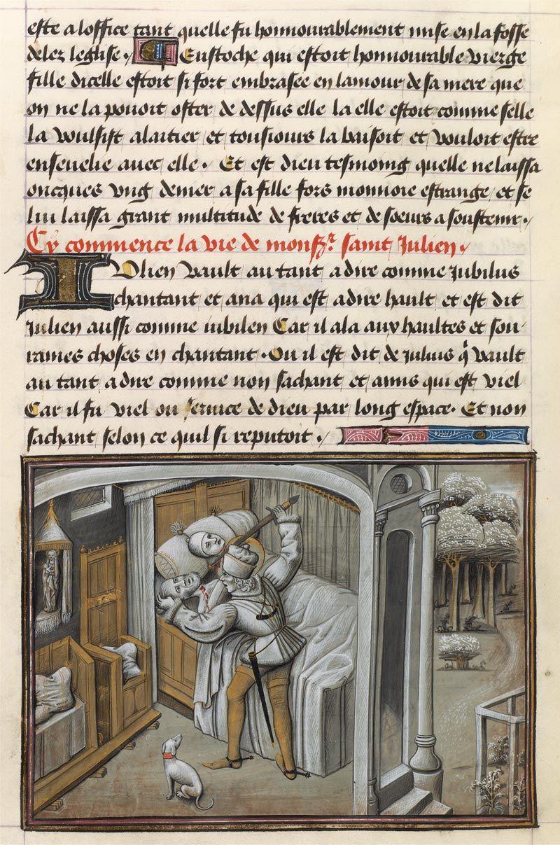 St Julian Accidentally Kills His Parents Puppy Art Illuminations Morgan Library