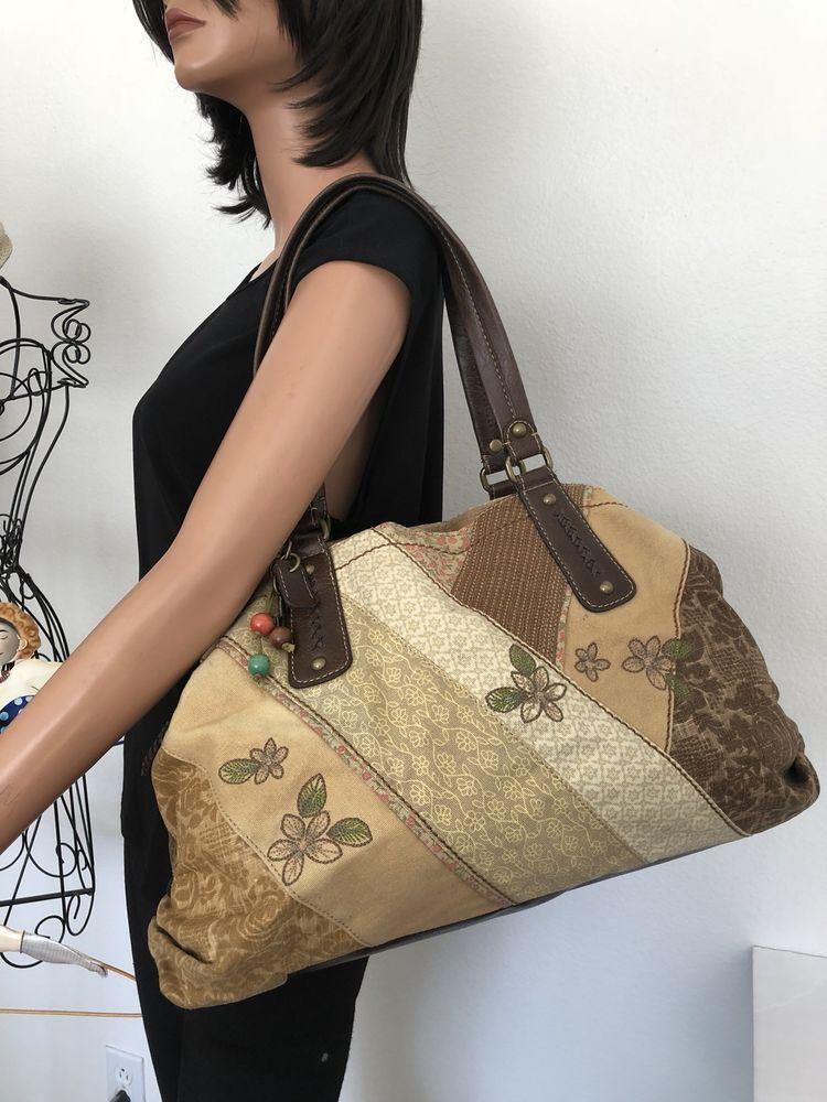 Fossil Bag Oatchwork Dedigner Fashion Boho Hip Hobo Earthy Colors ... 4a6769679a364