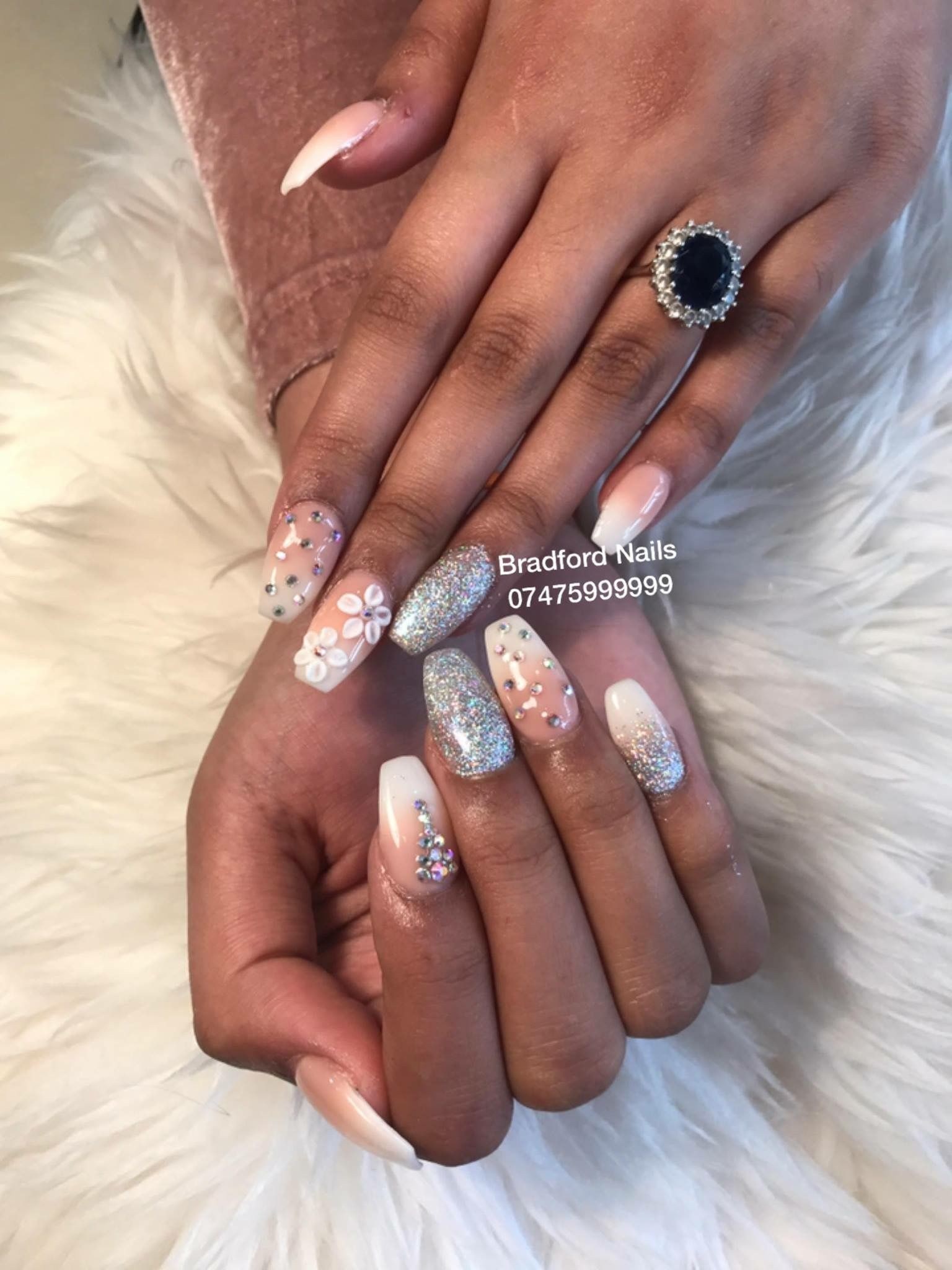 Nude Ombré nails design with 3D flower, glitter and crystals in ...