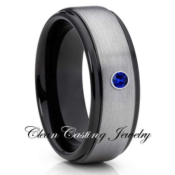 Black Tungsten Wedding Band Gray Black Tungsten Ring 8mm