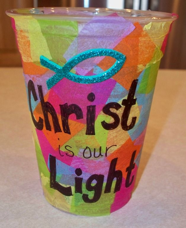lanterns using plastic cups and tissue paper kids church