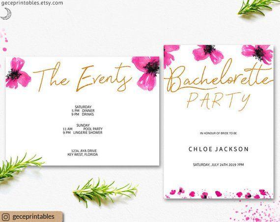 Bachelorette Invite Editable Invitation Hens Party