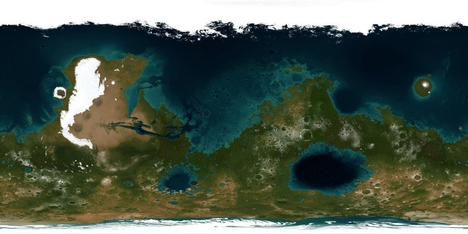 Hypothetical map of a Terraformed Mars [1024 x 512 ... on gorilla map, gypsy map, global topographical map, ganymede map, uranus map, neptune map, milky way map, mercury map, space colonization map, saturn map, earth map, io map, mars map, ceres map, jupiter map, brazilia map, pleiades map, pluto map, iran map, moon map,