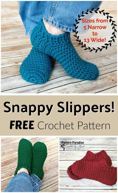Free Crochet Pattern Snappy Slippers Pattern Paradise Slippers