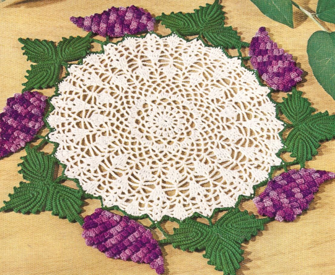 Vintage Crochet PATTERN to make Grape Cluster Doily Vine Leaves ...