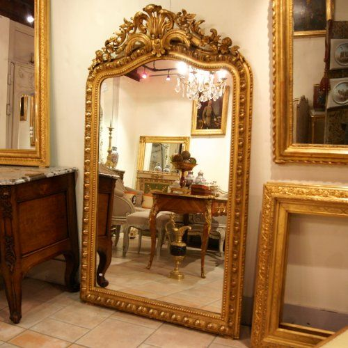 Grand miroir ancien glace la feuille or xixe h 180 cm for Grand miroir antique