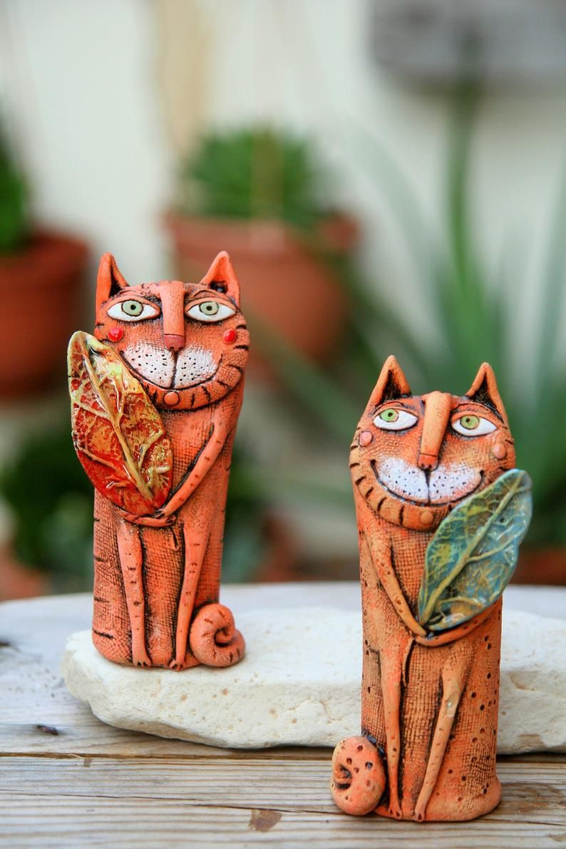 Whimsical cat figurine, Pottery cat miniature, Cat lovers