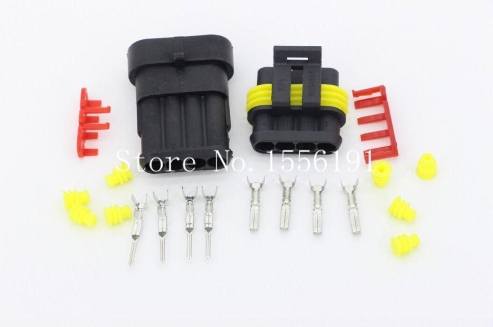 5 Sätze/Kit 4 Pin AMP 1,5 Anschlüsse Wasserdichte Elektrische Draht ...