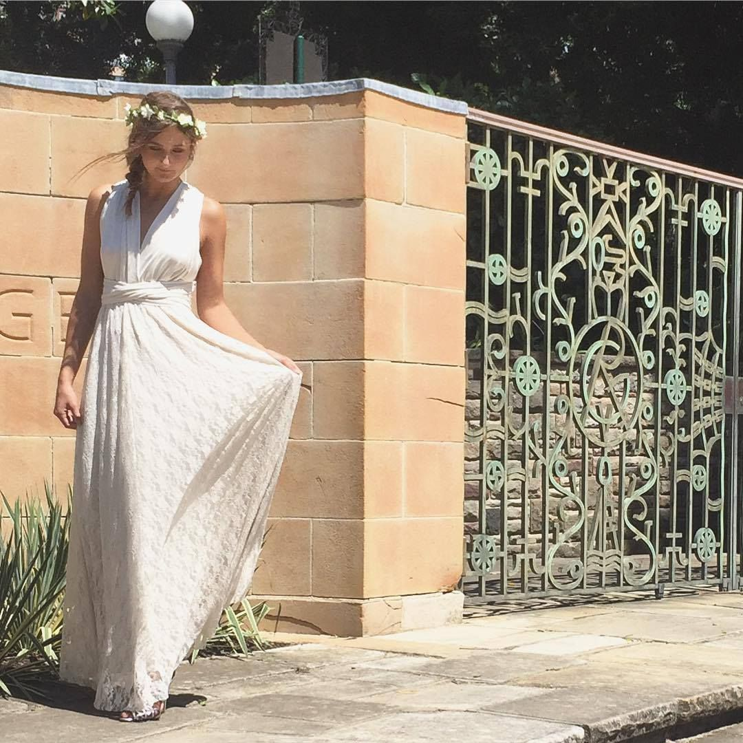 Beautiful boho wedding dress with detachable skirt add a lace