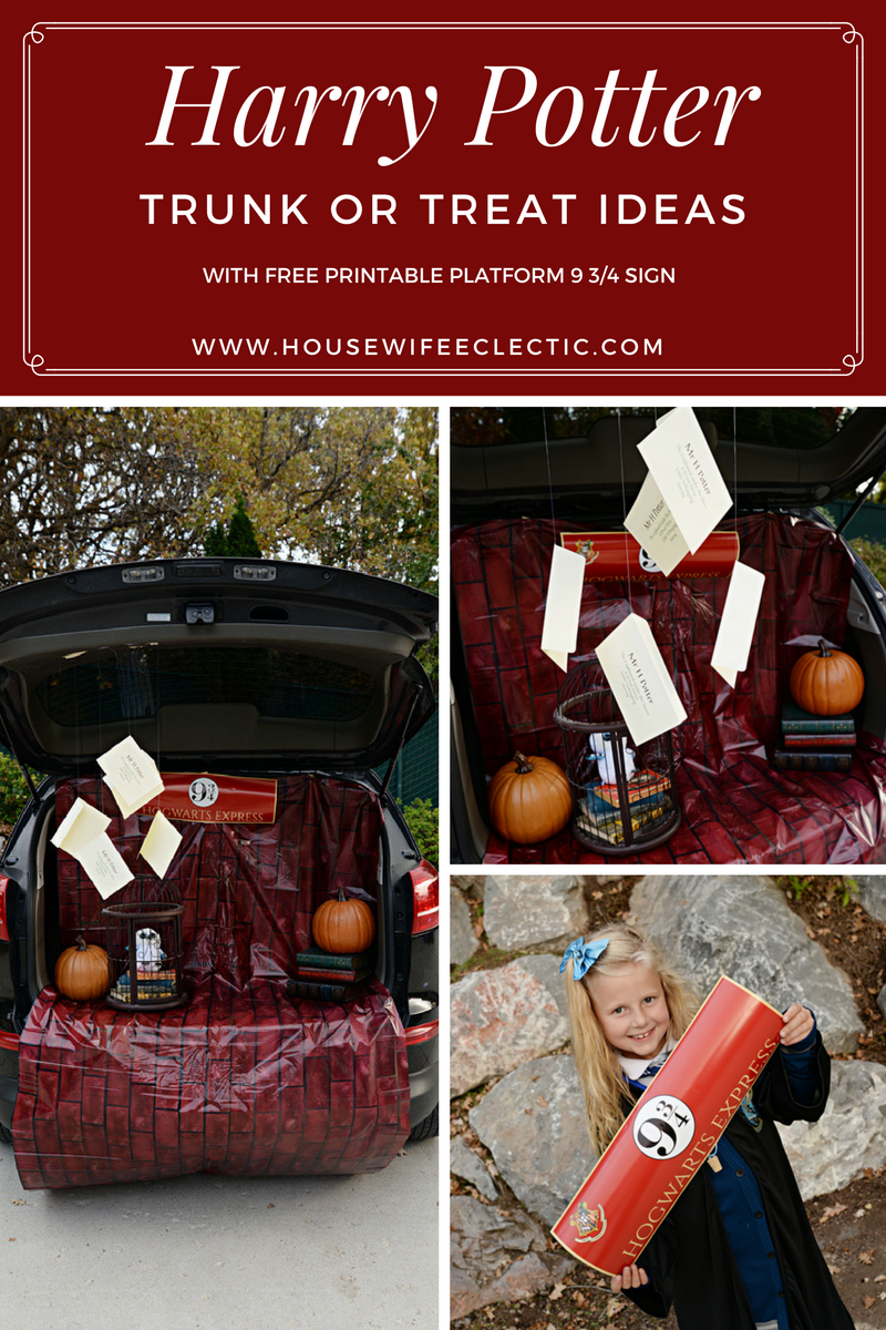 Harry Potter Trunk Or Treat With Free Printable Platform 9 3 4 Sign Housewife Eclectic Trunk Or Treat Truck Or Treat Harry Potter Birthday Party