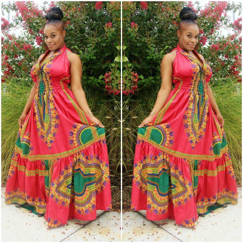 African Print Maxi Dress Red Dashiki Long Summer Wedding