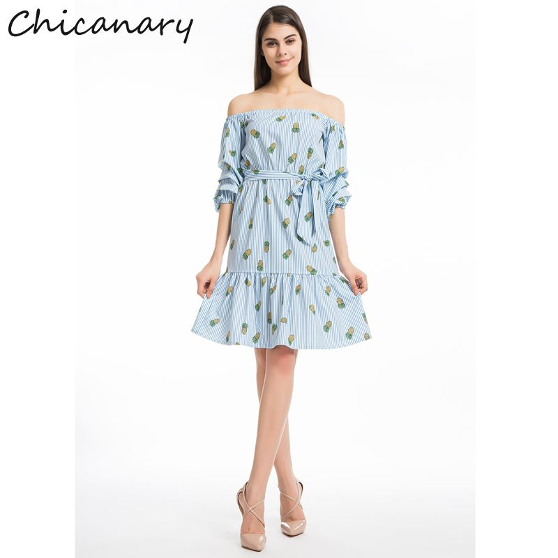 fce110d5a76 Click to Buy    Chicanary Stripe Pineapple Print Off Shoulder Women Dresses  with Belt Ruffles Hem Midi Dress Plus Size  Affiliate