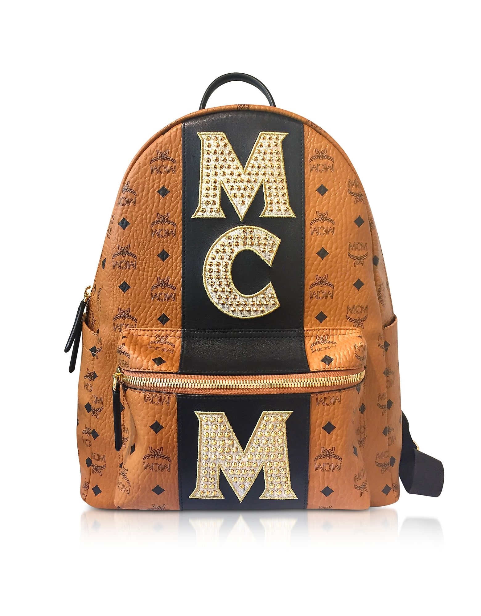 MCM COGNAC STARK STRIPE STUDDED MEDIUM BACKPACK.  mcm  bags  backpacks   4ba7534b02bed