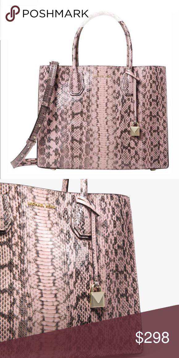 84f08f10f580 NEW Michael Kors Snakeskin Mercer Handbag Pink BRAND NEW Crafted from  genuine snakeskin, this sleek handbag is an ultra-rich take on our Mercer  crossbody.