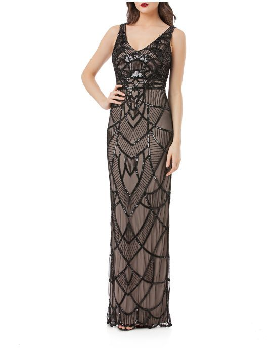 e3b9eff6f9 Js Collections Art Deco Beaded Gown Women s Black Nude 4 from Lord   Taylor