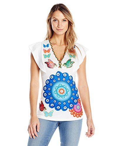Mujer 1000 Desigual blanco Medium Camiseta Candice Blanco E44wU8q