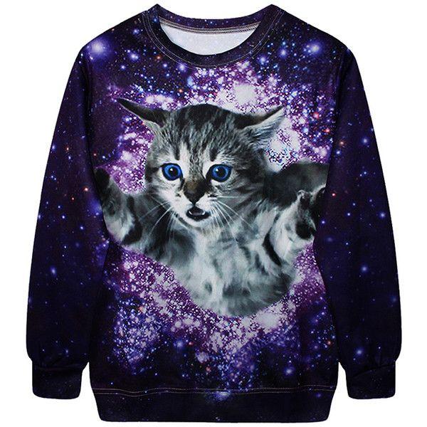 Childrens Kids Girls Boys Unisex Cute Casual Kitty Cat Print Sweatshirt Hoodie