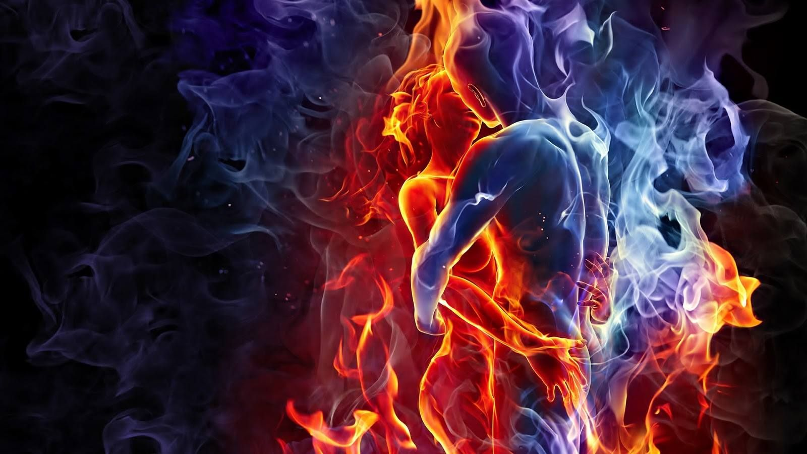 She's like fire and he is like water. She's like the night and the storm in the heart of the sun. He's ancient and forever. Together they converge, at the centre of time and space, as they watch the turn of the universe within divine love.
