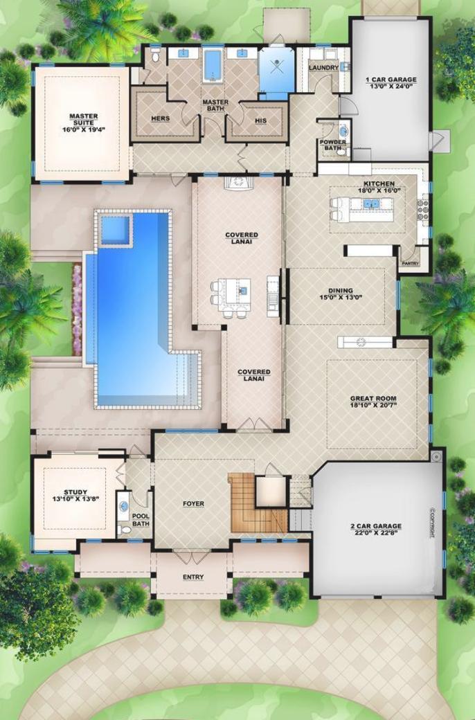 Home Plan 009 4417 Main Level Floor Plan Cottage Floor Plans Modern House Plans Tiny Cottage Floor Plans
