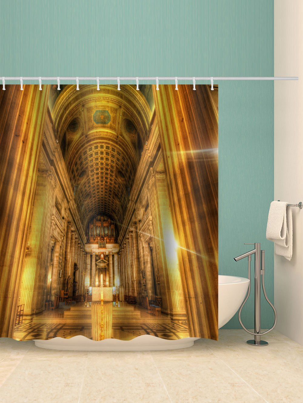 Notre Dame Cathedral Printed Waterproof Bathroom Shower Curtain