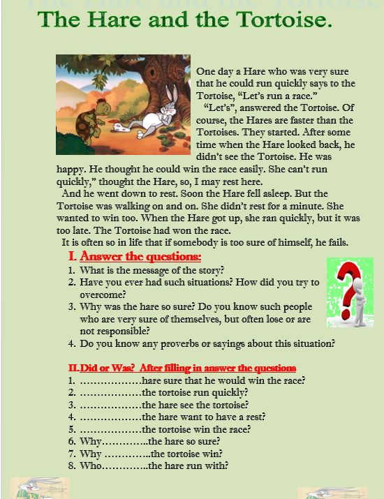 The Hare And The Tortoise Reading Comprehension Http