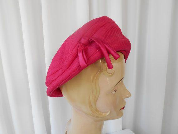 Vintage Hot Pink Tilt Hat with Satin Bow by PinkLipstickVintage