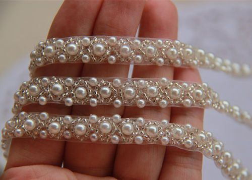 Off White Pearl Beaded Lace Trim Wedding Dress Belt Brial Sash Jewelry 1 Yard