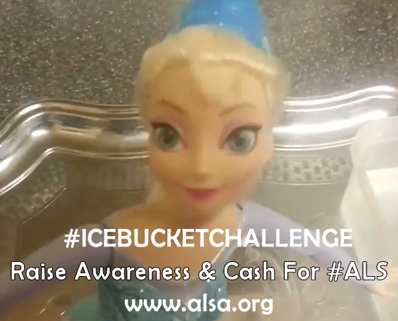I accept the ALS Ice Bucket Challenge with a little creativity and help.  Check it out here https://www.youtube.com/watch?v=BJDkvJOA-t8  I nominate Com Mirza, Dini Noorlander Lisa Faeder Grossmann  The ALS Challenge was created to bring awareness and raise money to help find a cure for Lou Gehrig's disease. Http://www.alsa.org/
