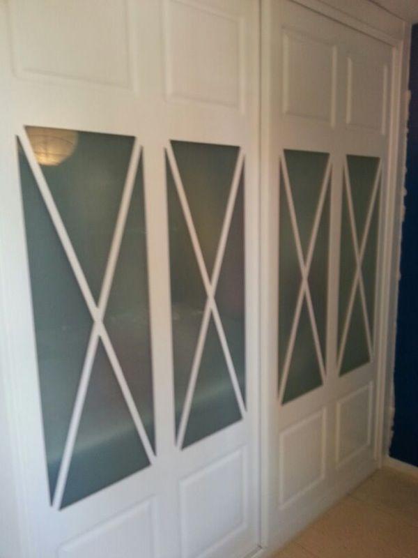 Armario corredera de 2 hojas con aspas dobles cristal for Puertas correderas de cristal