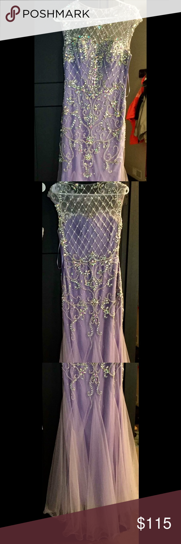 Prom dress Purple, beautiful beading Dresses Prom