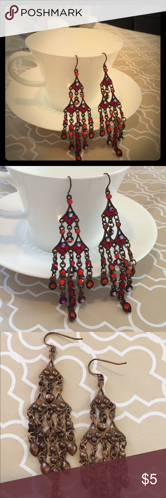 Chandelier earrings with red crystals ear loop chandelier chandelier earrings with red crystals arubaitofo Choice Image