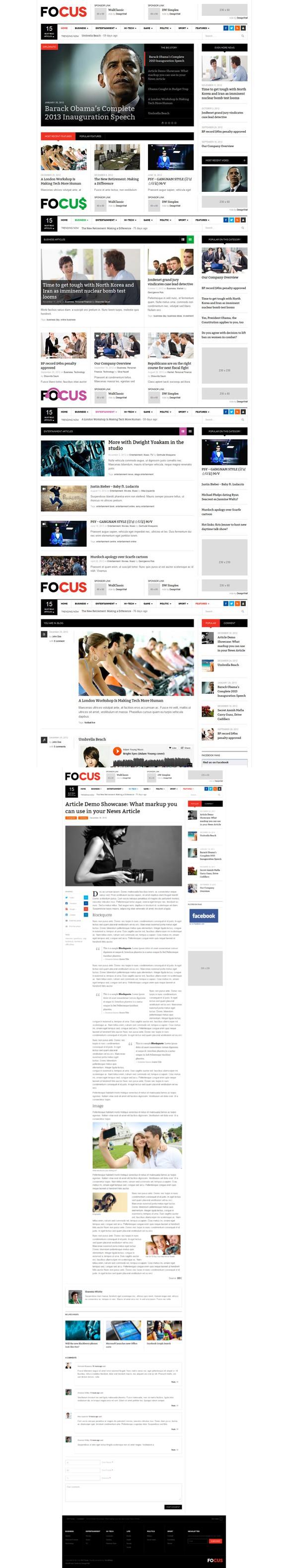 DW Focus - Responsive WordPress News. Bootstrap Templates. $49.00 ...