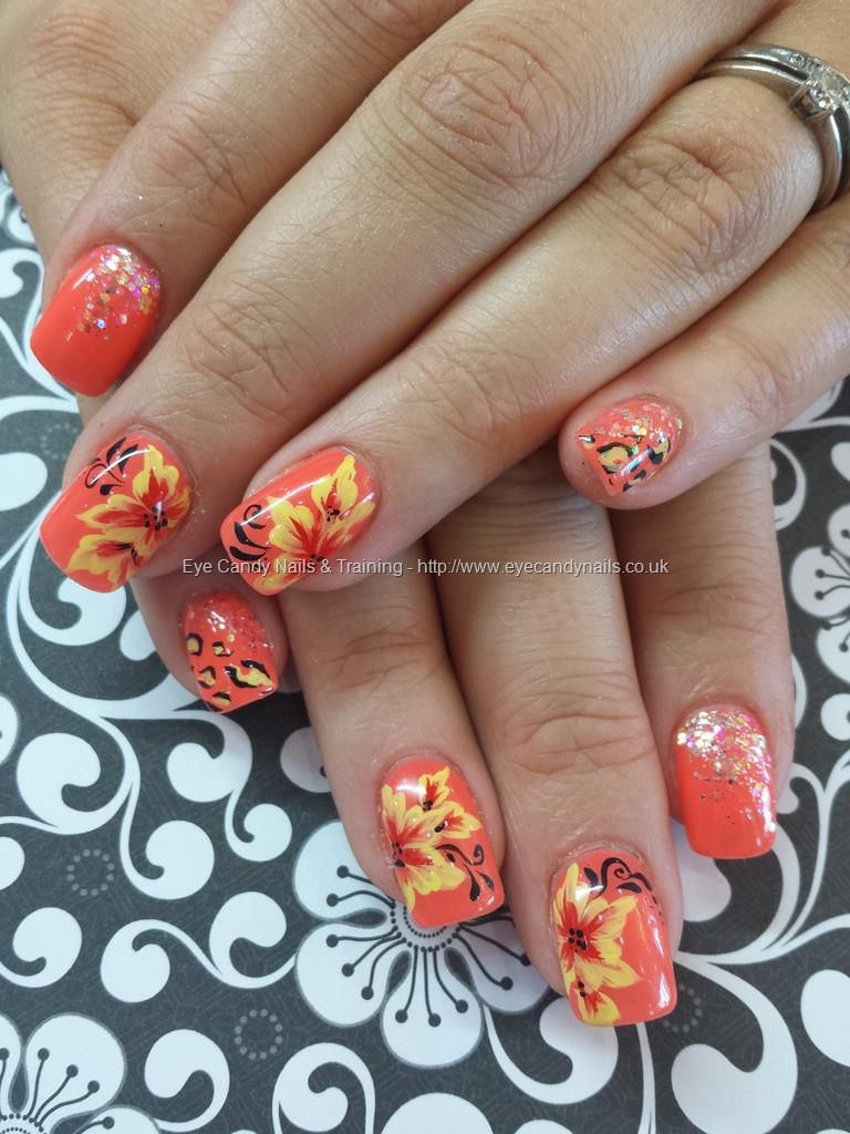 Gel 3 with one stroke nail art and freehand nail art   My Style ...