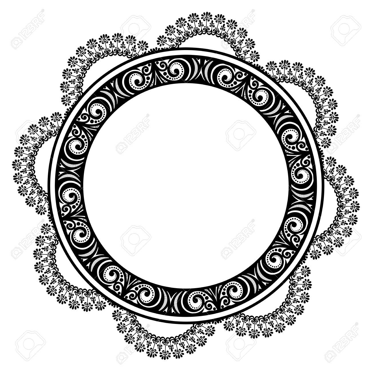 Beautiful Decorative Round Frame Vector Snowflake Patterned Vector Round Frame Frame