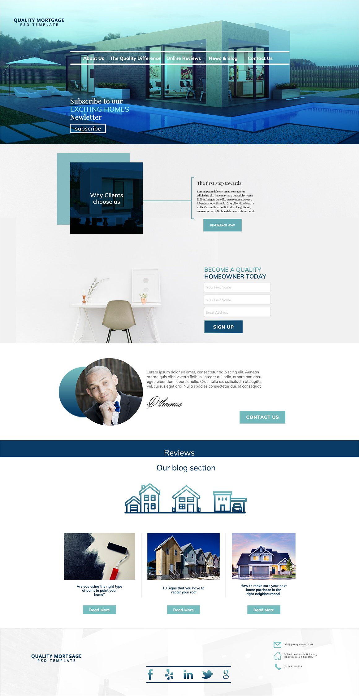 Mortgage Landing Page PSD Template | Apps