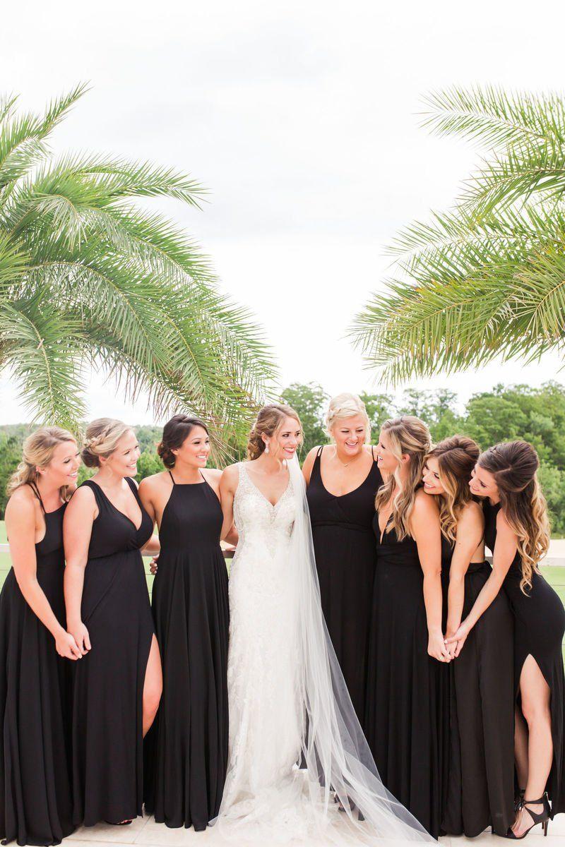 Black Long Mix And Match Bridesmaid Dresses Abby Waller Photogra Beach Wedding Bridesmaid Dresses Black Bridesmaid Dress Mismatched Mixed Bridesmaid Dresses